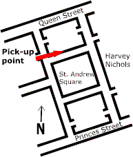 Map of pickup point on North side of St Andrew Square